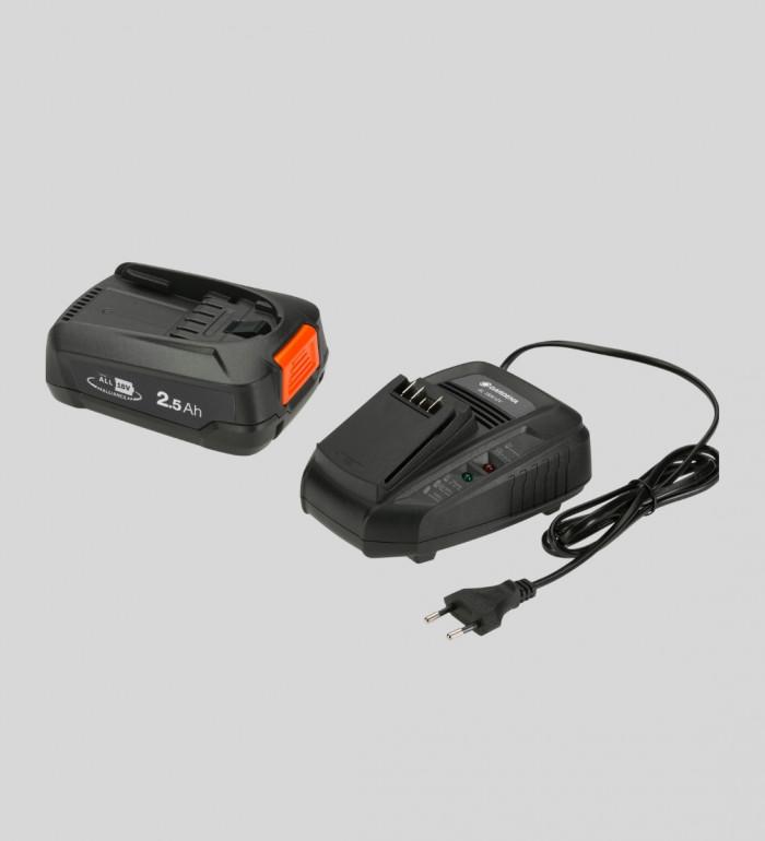2,5Ah batteri och snabbladdare